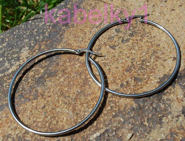 Náušnice MONA z chirurgické oceli kruhy stříbrné barvy hladké velké 483db2ecf85