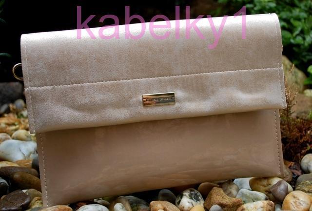 e736c8a19f Psaníčko kabelka zlatá krémová listová s leskem kombinovaná