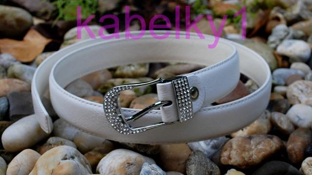 3bcc4d6f12e Bílý pásek štras stříbrná přezka broušené sklo