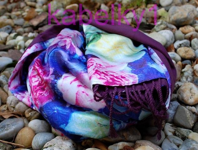 Šála květovaný luxusní růžové zlaté modré smetanové květy fialový kašmír  kombinovaný oboustranný 09c5fa291c